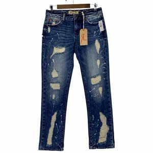 Remix by Rock Revival Slouchy Straight Distressed Mid Rise Jeans Size 25 NWT